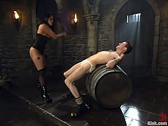 Elliot Skellington gets tied up and wrapped by his Asian mistress. He also licks her shaved pussy and then she rides his cock excitedly.