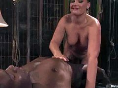 Moments of pain with a desirable blond bitch Flower Tucci! She is going to tie Jack Hammar and play with his huge black dagger.