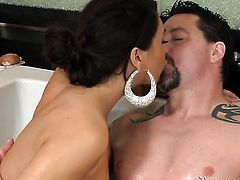 Jack Vegas plays hide the salamy with Brunette Ava Alvarez