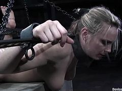 Hot blonde chick gets chained and then toyed with a vibrator. After that her master fixes claws to her pussy lips and nipples.