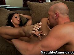 Angel Dark with round ass spreads her pussy lips invitingly in hardcore action with Christian