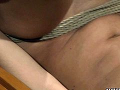 Blonde lesbian spanks one palatable brunette chick without mercy. She ties her up and squeezes her hard perky nipples. Don't skip this hot bdsm sex tube video for free.