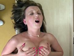 What a kinky one we are having here! Hiltrud loves huge cocks and one like that is moving intensely in her tight twat!
