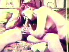 She gives amazing blowjob before having her hairy twat nailed in top vintage hardcore