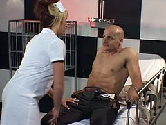 Watch this sexy blonde dressed as a nurse having her holes drilled by this guy's big cock after she gives her lucky patient one hell of a boner.