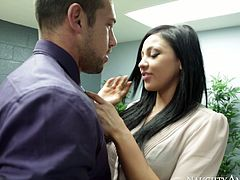 Her sexy body can be seen even when is dressed in an office outfit in leather jacke.Her colleaugue could resist not to fuck her,so he ripped her cloth and fucked her really hard in her wet pussy.