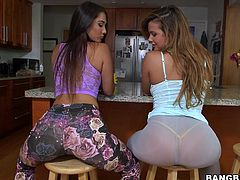 Eva and Keisha are two big booty girls that want some fun. The girls sit on the chairs and touch each others asses. Then, the whores pull down their pants and rub those asses some more! Yeah, we want to see more and maybe they will take off their panties too! Let's keep these asses some company!