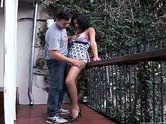 Provocative brunette hoochie blows dick like nobody else before. She kneels down and licks his penis stem and plays with his nuts. Don't skip Fame Digital outdoor blowjob sex movie.