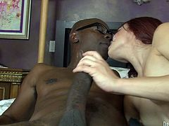Insatiable black stud Sean Michaels allows tattooed cutie Alyssa Branch play with his mighty rod. Then he fucks Alyssa's pussy doggy style and in other positions and they both enjoy it much.