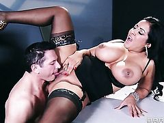 John Strong touches the hottest parts of nasty Kiara Mia's body before he drills her love tunnel