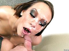 Haley Sweet satisfies mans sexual desires and then gets her pretty face jizzed on