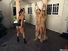 This is the hottest and most popular BDSM video with some smoking hot sex slaves! They are all tied up and dicked. There are some dudes who manage fuck three pussies at a time!