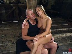 Sexy blondie doesn't mind being fucked in bondage