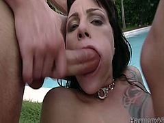 Two dudes fucks one busty brunette chick near the pool. They penetrate her anus and pussy and later fuck her face. Watch exciting Harmony Vision DP scene.