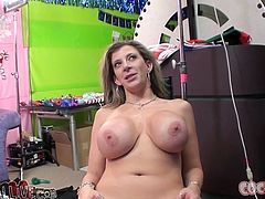 Big tittied chicks give a blowjob and get titty fucked