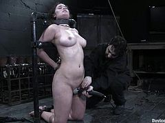 Sexy brunette babe with pierced nipples gets bonded. She also gets choked with a plastic bag and toyed with a vibrator.