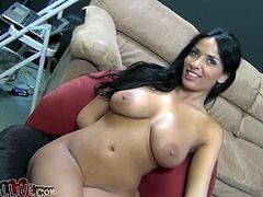 Big-breasted brunette beauty Annisa Kate is having fun with some lucky dude. She sucks and rubs his prick remarcably well and then takes a ride on a fucking machine.