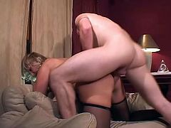 We have a randy blonde mature slut called Debbie Lien sucking cock and getting that experienced snatch fucked.