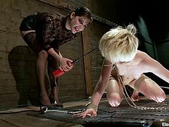 Petite blonde girl gets tied up and whipped by her brunette mistress. Later on she gets tortured with electricity. Then Alani licks Bobbi's vagina.