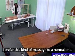 Blonde patient gets a pussy examination by horny doctor