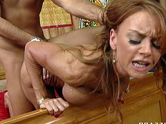 Nasty bodybuilder red head sucks dick and massages big long cock with her impressive big boobs. She is a proprietress of big fake jugs and hell working mouth hole.