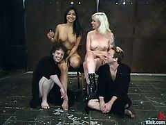 Nasty Lorelei Lee and Mika Tan torture guys' balls and dicks with ropes. Later on girls toy men's asses with big dildos.