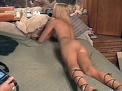 Appetizing young blonde is posing in front of a cam and later getting her smooth pussy drilled hard in missionary style. Enjoy watching sextractive young blondie for free.