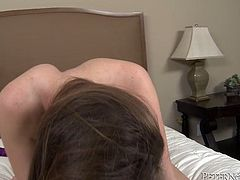 This slim nympho has a huge sexual appetite! Incredibly perverted brunette needs a crazy, break-the-bed type of fucking. She climbs on top of her lover and fucks him silly in this position.