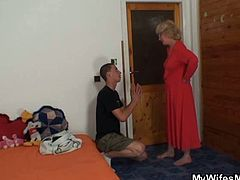 Watch a vicious blonde mature giving her son-in-law a hell of a blowjob before riding his cock into a breathtaking orgasm.