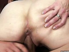 Blonde Angeline and horny dude have a lot of fun in this oral action