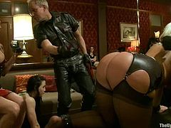 Horny girls get their asses whipped and also toyed. Then some of girls get tied up and other get fucked hard.