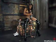Aubrey Addams is having fun with Jada Fire in a basement. Jada binds and humiliates Aubrey and then fucks her juicy cunt with a dildo.