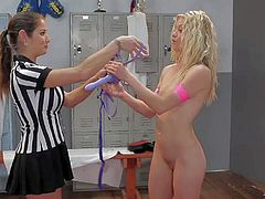Natasha Malkova and BellaBends are young sexy girls that touch each others perky tits and shaved pink pussy as they wrestle at the gym in front of sexy lesbian referee. Watch them do it.