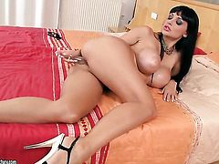 Aletta Ocean with big boobs spreads her legs to fuck her moist muff with her fingers