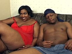 BBW ebony gets naked wit her man in this scene of ebony sex. She gets on her knees and sucks that cock hard till she ends bent over and taking a hard banging, wanna see?