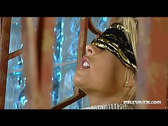 Blindfolded blonde bombshell Brooke Haven spreads her legs wide to let her lover eat her delicious snatch. He licks it greedily like a true cunt licker. Then he fucks her juicy pussy from behind.
