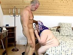 Granny is sucking that hard cock and makes that nasty stud insane before she jumps on his cock and rides that thing like a horny slut.