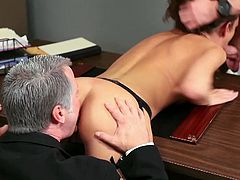 Courtesy of Hustler you can see how the sensual brunette temptress Katie Jordin gets banged by two dudes into kingdom come. She loves getting drilled from both ends!