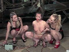 There's a double strapon fuck in store for the submissive chick in this lesbian femdom threesome with bondage and kinky action.