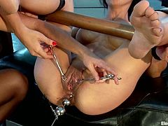 The Asian Tia Ling is going to get anal toyed and pussy tortured in this lesbian threesome with domination and bondage.