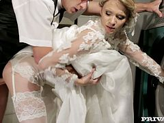 Before she got married she decided to get fucked by her best friend for the last time.She pulled her wedding dress and jumped on his cock,riding it like crazy cowgirl.