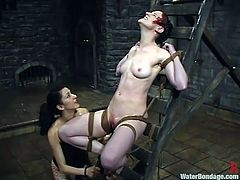 Nasty girl Nina is getting her punioshment. She gets bound and beaten by Princess Donna Dolore and then enjoys being fucked with a dildo and drowned.
