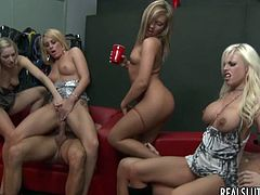 Four sexy blonde chicks drink alcohol and dance. After some time they suck big cock and also lick each others pussies. This lucky guy fucks the every girl at the party.