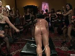 Aiden Starr, Lorelei Lee and many other girls are having fun with some dude in the living room. They whip his ass and then play with his hard prick.