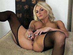 Alicia Secrets with big hooters and trimmed snatch enjoys another masturbation session