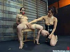 Beautiful brunette Victoria Sweet is getting naughty with Isis Love in a basement. Isis binds and suspends Viki, then plays with her holes and makes the slave lick her vag and fuck it with a strapon.