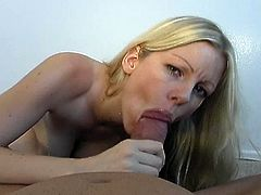 Watch this perfect 10 blonde stripping off and teasing with her statuesque body before she uses her tits to masturbate her man's cock. Then she gives him a great pov blowjob.
