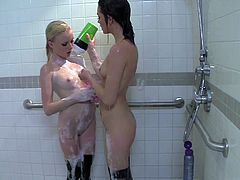 Young attractive slender blonde and brunette babes Kyleygh Ann and Kiera Winters with natural boobies and slim bodies in stockings gets horny while having shower and start pleasuring each other.