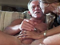 This guy is significantly older than this ebony babe. However, she doesn't hesitate to suck his old, but still hard cock. Then, he fucks her pussy pretty hard.
