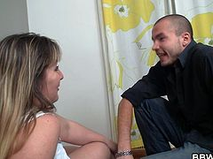 Yeah, this bitch has a lot to offer, and we're not talking only about love here! She's a horny bbw with a pair of huge boobs and an even bigger sex drive. She comes into this dude's house where he begins to undress her and then play with her tits. Look at those jugs and how much she enjoys getting her nipples sucked.
